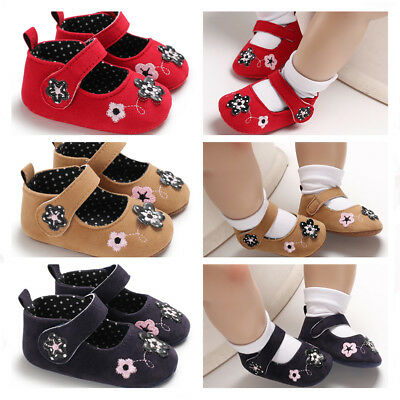Newborn Baby Girl Soft Sole Floral Pram Shoes Infant Toddler First Step Trainers