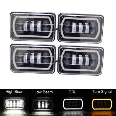 "4PCS 4x6"" Car 30W Led Projector Headlight with DRL for Peterbilt Jeep Chevrolet"
