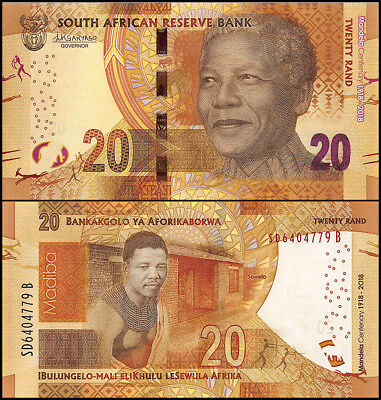 South Africa 20 Rands Banknote, 2018, P-NEW, UNC, Nelson Mandela, Madiba
