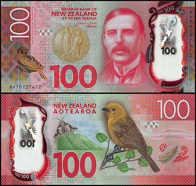 New Zealand 100 Dollars Banknote, 2016, P-195, UNC, Polymer, Lord Rutherford