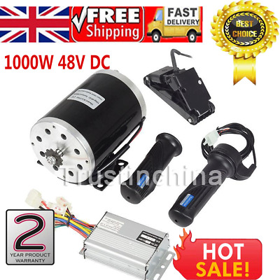 1000W 48V DC Electric Motor Kit w/ Base Speed Controller & Foot Pedal & Throttle