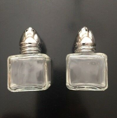 """Vintage Irice Clear Glass Cube  Silver Top Salt and Pepper Shakers 2"""""""