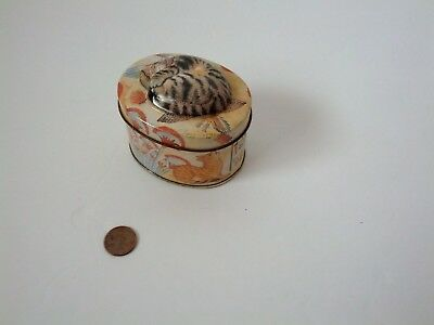 Miniature Tin With  Napping Cat Embossed Lid