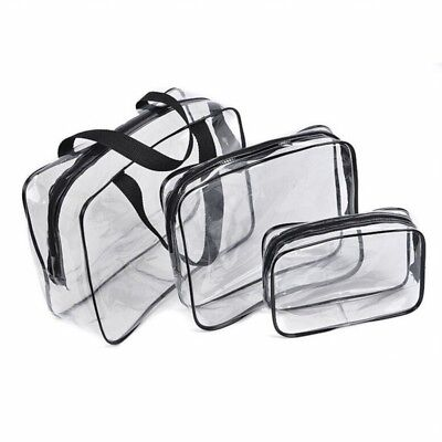 2X(Hot 3pcs Clear Cosmetic Toiletry PVC Travel Wash Makeup Bag (Black) D6Z9)