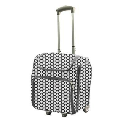 Couture Creations 'CRAFT ROLLING TRAVEL TROLLEY TOTE' 2pc Black w/- White Spots