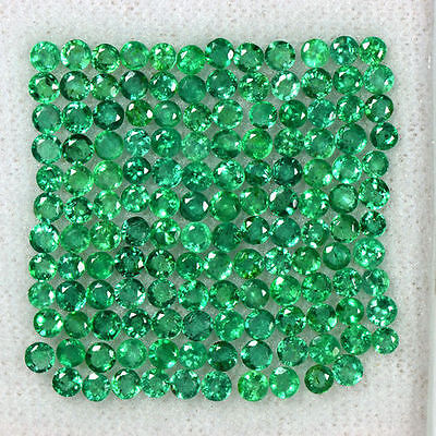 10.03 cts Natural Green Emerald Loose Gems Untreated Round Cut Lot Zambia 2.5 mm