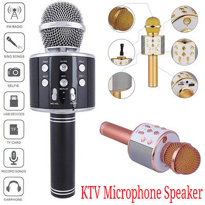 KTV Wireless Bluetooth Karaoke Microphone Speaker Handheld Mic USB Home Aux TF