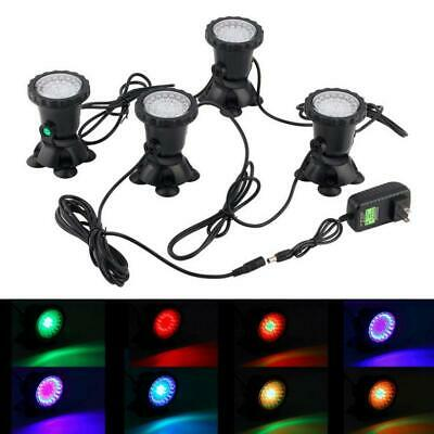 4pcs Submersible 36 LED RGB Pond Spot Lights for Underwater Pool Fountain IP67