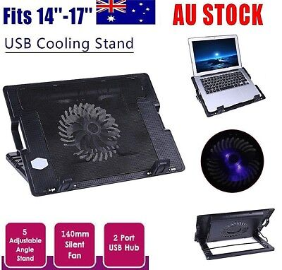 Adjustable Laptop Notebook Cooler Cooling Stand Fan Pad 2 USB  For PC 14-17''