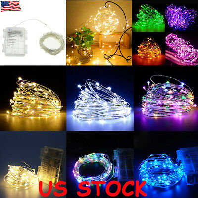 50/100 LED String Battery Operated Copper Silver Wire Fairy Lights Xmas Party US