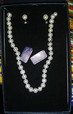 "18"" Genuine Freshwater Cultured White Pearl Strand Necklace & Earrings-Brand Ne"