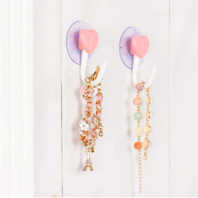 2pcs Pink Love Heart Wall Hooks Hanger Kitchen Bathroom Suction Cup Suckers Z