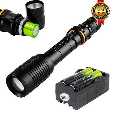 18650 Battery+Charger# Tactical Light 50000LM T6 LED Flashlight Zoomable Torch