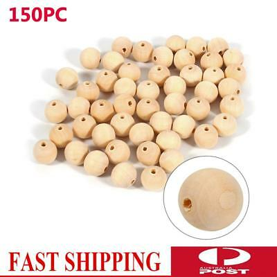150pcs 20mm Large Wooden Beads Natural Color Round Ball Wood Speacer Beads AU
