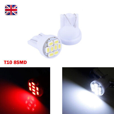 T10 W5W 12V 3020 SMD 8 LED Bright Flush Mount Sidelight Wedge Bulbs Stop Lamp