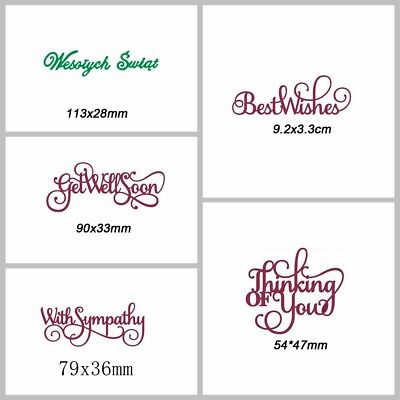 Various Wishes Letters Cutting Dies Stencil Scrapbook Embossing Paper Card Craft