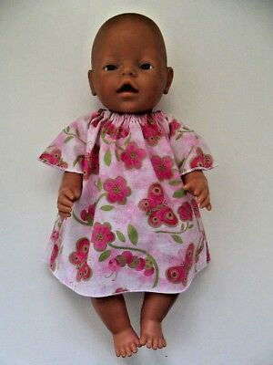 "DOLLS CLOTHES to fit 43cm (17"") BABY BORN *Butterflies & Floral in Pink Dress*"