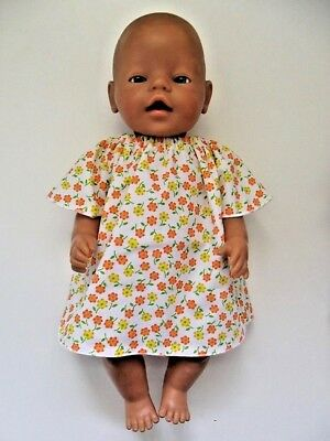"""DOLLS CLOTHES to fit 43cm (17"""") BABY BORN *Orange & Yellow Flower Patch Dress*"""