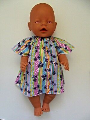 """DOLLS CLOTHES to fit 43cm (17"""") BABY BORN *Stripes, Polka Dots and Floral Dress*"""