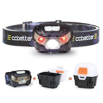 ccbetter Headlamp Running Rechargeable USB Head Torch Camping LED Hiking Light