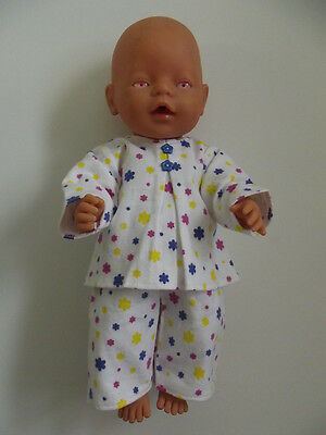 """DOLLS CLOTHES to fit 43cm (17"""") BABY BORN *Pink,Blue and Yellow Daisies Pyjamas*"""