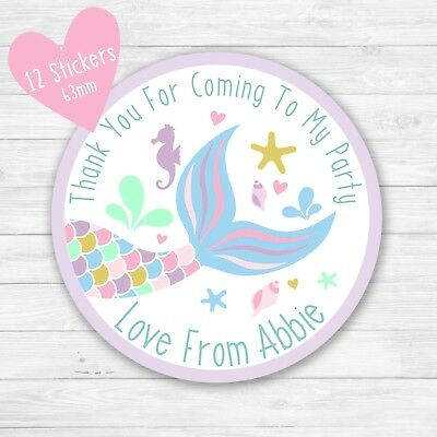 MERMAID TAIL PERSONALISED BIRTHDAY PARTY SWEET CONE GIFT BAG SEAL STICKER MER6