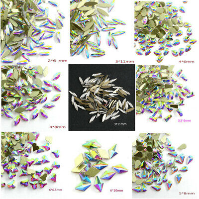 Crystal Clear / AB Colorful Nail Art Rhinestones 3D Elongated Shape Glass Stones