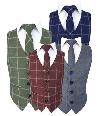 Kids Check Tweed Wedding Waistcoat Set Page Boys Formal Checkered Vest Outfit