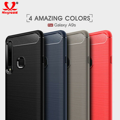 For Samsung Galaxy A9 2018 Case Rubber Gel Carbon Fiber Protective Cover Skin