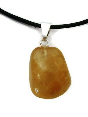 Natural Brazilian Citrine Spin Polished Pendant Necklace Crystal Healing