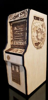 Donkey Kong Replica arcade machine. Laser cut and etched from birch 19cm tall
