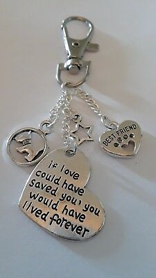 Key Ring Handbag Charm If Love Could Have Saved You  Dog paw  Pet Memorial Gift