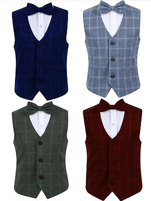 Boys Checkered Tweed Wedding Waistcoat optional Bow tie and Hankie Age 3 to 16 Y