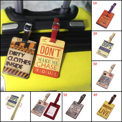 Creative Suitcase Leather Luggage Tags Name Address ID Holder Identifier Label