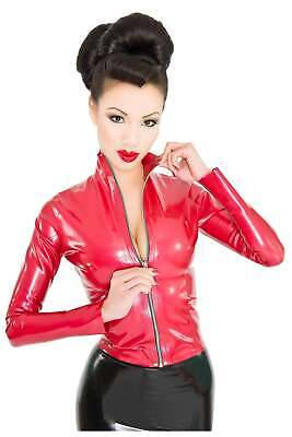 Westward Bound Red Label - Mistress Latex Jacket Top Pearl Sheen Red