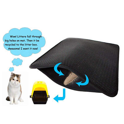 Double Layer Cat Litter Mat Trapper Foldable Pad Litter Box Pet Rug Dirt Catcher