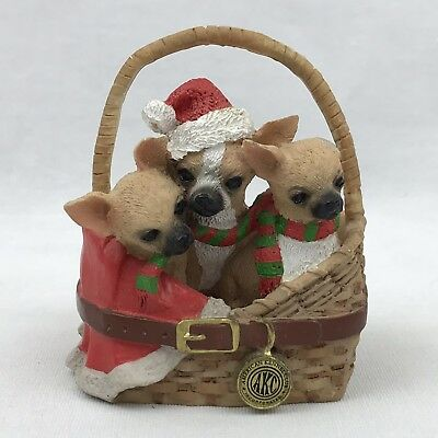 Christmas Basket of Chihuahua Puppies Figurine Resin FLAW