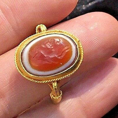 Ancient Red Eye Agate Intaglio Signet Running Horse Solid 22K Gold Engraved Ring