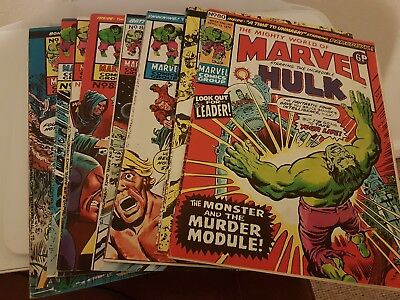 The mighty world of marvel, starring Hulk. 9 Comic Books #80-87 & #89 1974