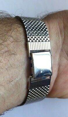 New Old Stock 1940s Mesh Lenox Watch Band 19mm 1/20th 12kt Gf White Gold Tone