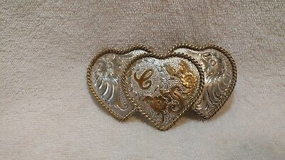 Ladies Letter C Buckle Triple Heart Gold Silver Plate Silversmith Collection ADM
