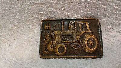 Vintage Heavy Brass Buckle IH International Harvester 1086 Row Tractor Spec-Cast