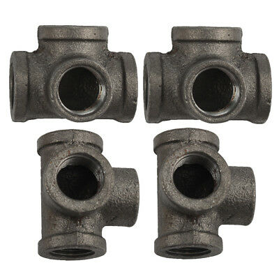 """Lot of 4 - 1/2"""" BLACK MALLEABLE IRON CROSS 4-way TEE fitting pipe npt Decor"""