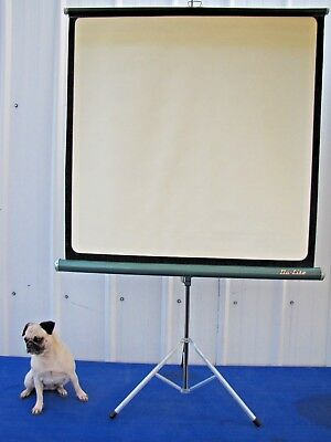 Vintage Da-Lite 40x40 Projection Slide and Movie Screen On Tripod with Box
