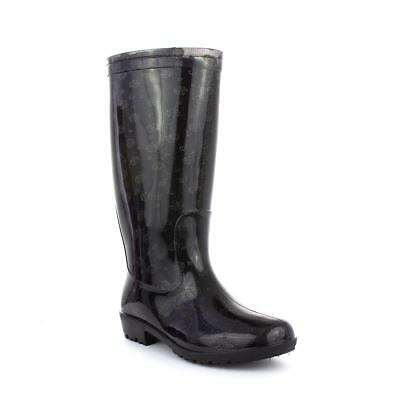 Wellygogs Womens Black Glitter Dot Wellies - Sizes 3,4,5,6,7,8,9