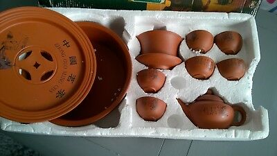 Vintage Red Clay Terracotta Yixing? Oriental Tea Set with Brewing Tray for 6