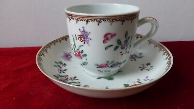 Antique Chinese export porcelain cup saucer. Pink family. 18th C.....A