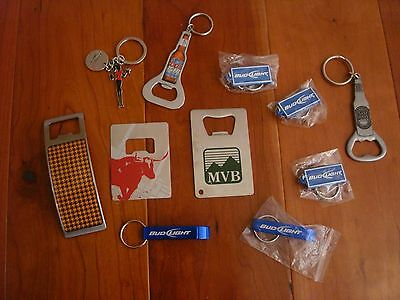 Lot of 11 Beer Bottle Opener Key Chain Blue Bud Coors Sam Adams Light