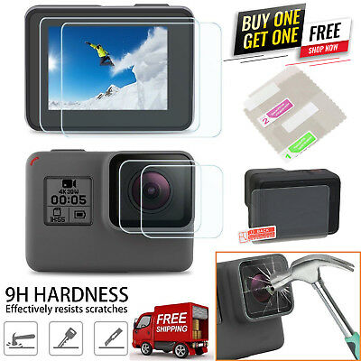 9H Tempered Glass Screen Portector + Lens Film For GoPro HERO 7 Black New