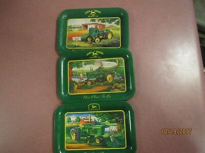John Deere Tractor 3 SMALL Metal Trays VINTAGE COLLECTIBLES CHRISTMAS GIFT!